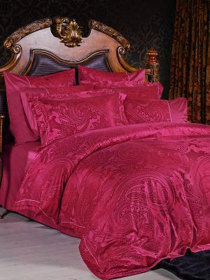 Постельное белье семейное, жаккард. сатин, 2 нав. 50х70, терракотово-красный Asabella. Цвет: терракотовый