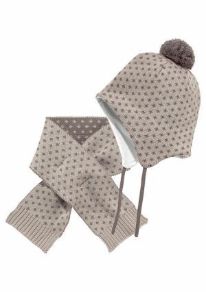 Комплект: шапка + шарф KLITZEKLEIN. Цвет: коричневый/телесный