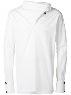 Рубашка с драпированной горловиной Alchemy. Цвет: белый
