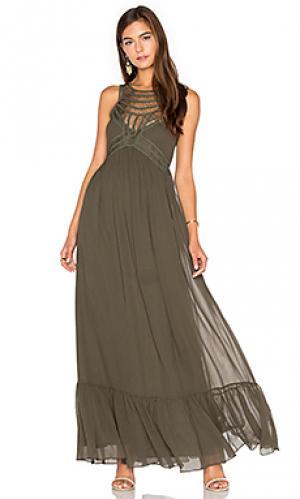 Макси платье с украшением спереди Twelfth Street By Cynthia Vincent. Цвет: военный стиль