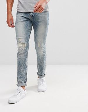 ASOS Выбеленные рваные джинсы скинни. Цвет: синий