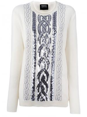 Декорированный свитер Markus Lupfer. Цвет: белый