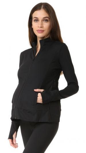 Спортивная куртка для беременных с молниями по бокам Ingrid & Isabel. Цвет: голубой