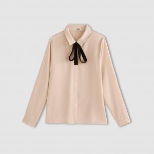 Блузка с воротником завязками MOLLY BRACKEN. Цвет: телесный