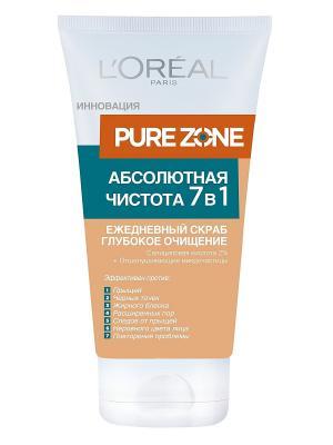 Скраб для лица Pure Zone, Глубокое очищение 7 в 1, 150 мл L'Oreal Paris. Цвет: оранжевый