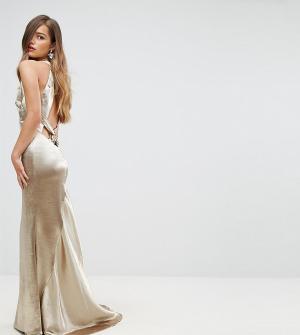 Jarlo Petite Платье макси с американской проймой, юбкой годе и открытой спиной Jarl. Цвет: золотой