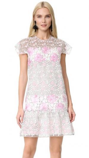 Платье с короткими рукавами Giambattista Valli. Цвет: розовый/черный мульти