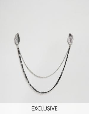DesignB London Серебристые уголки для воротника с цепочкой и перьями эксклюзи. Цвет: серебряный