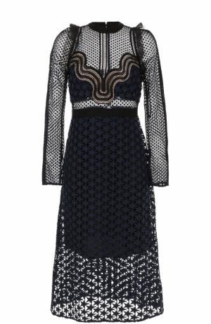 Кружевное платье-миди с длинным рукавом self-portrait. Цвет: темно-синий