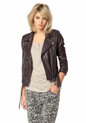 Кожаная куртка Laura Scott. Цвет: темно-коричневый