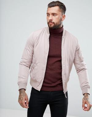 New Look Светло-розовый бомбер с карманами в стиле MA1. Цвет: розовый
