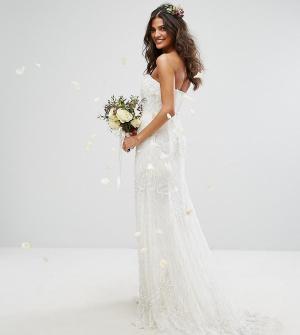 Amelia Rose Платье-бандо макси с отделкой Bridal. Цвет: кремовый