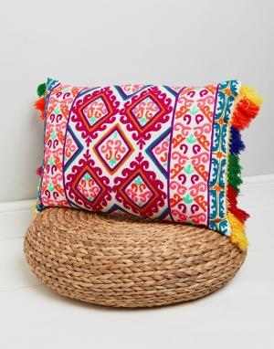Bombay Duck Неоновая подушка с кисточками. Цвет: мульти
