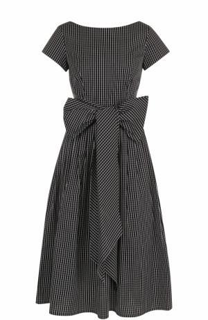 Хлопковое платье в клетку с поясом Michael Kors. Цвет: черно-белый