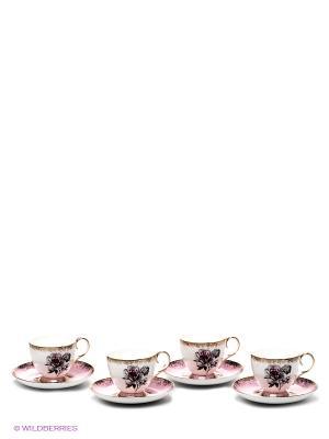 Чайный набор на 4 персоны Цветок Неаполя Pavone. Цвет: белый, розовый, золотистый