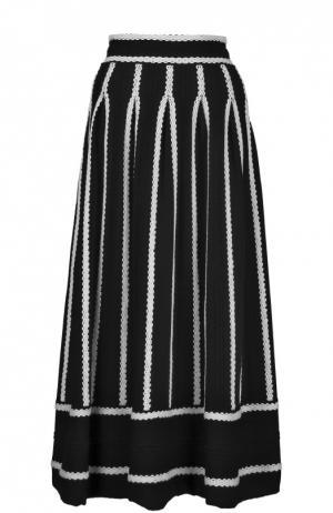 Юбка-миди с широким поясом и контрастной отделкой Maje. Цвет: черный