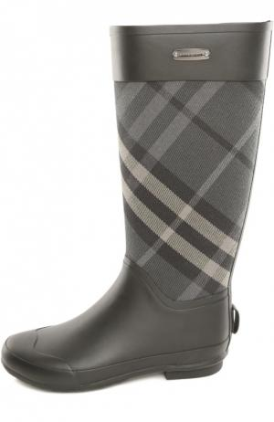 Резиновые сапоги с текстильными вставками Burberry. Цвет: черный