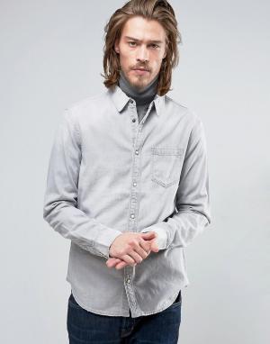 AllSaints Джинсовая узкая рубашка. Цвет: серый