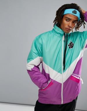 Old School Ski Зелено-фиолетовая горнолыжная куртка OOSC Folie. Цвет: фиолетовый