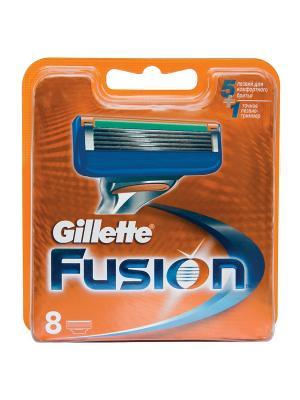 Сменные кассеты для бритья FUSION, 8 шт GILLETTE. Цвет: оранжевый