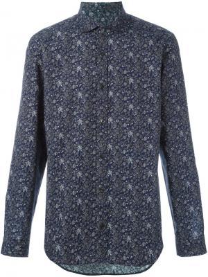 Рубашка с цветочным принтом Z Zegna. Цвет: синий