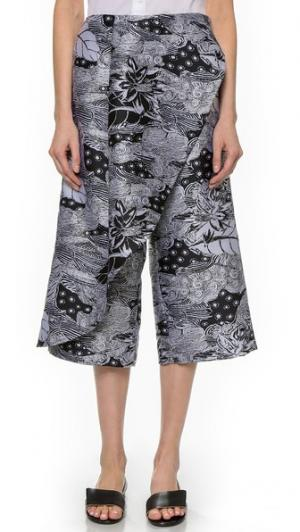 Укороченные брюки с перекрещенным передом Thakoon. Цвет: черный/белый