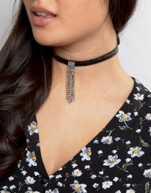 ASOS Бархатное ожерелье-чокер ограниченной серии с камнями. Цвет: зеленый