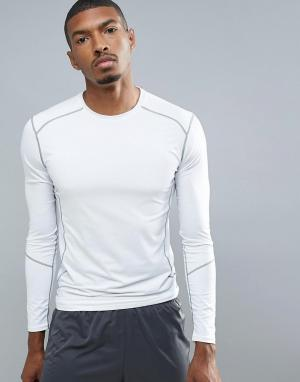 New Look Белый эластичный лонгслив для бега SPORT. Цвет: белый
