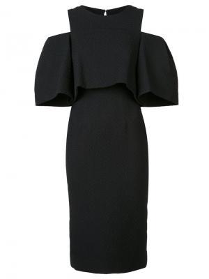 Платье с оборкой Monique Lhuillier. Цвет: чёрный