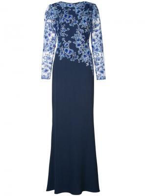 Платье с кружевом цветочным узором Tadashi Shoji. Цвет: синий