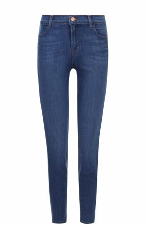 Укороченные джинсы-скинни с потертостями J Brand. Цвет: синий