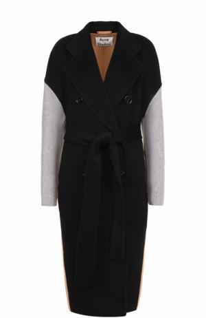 Двубортное пальто из смеси шерсти и кашемира с поясом Acne Studios. Цвет: разноцветный