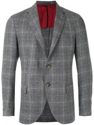 Пиджак в клетку Eleventy. Цвет: серый