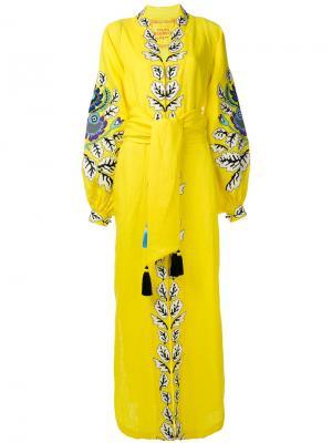 Свободное платье-кафтан с вышивкой Yuliya Magdych. Цвет: жёлтый и оранжевый