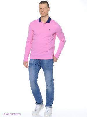 Лонгслив U.S. Polo Assn.. Цвет: розовый