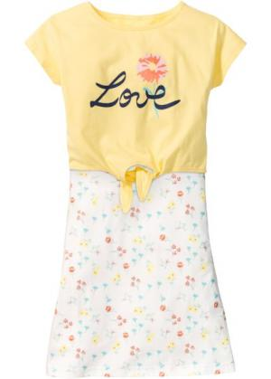 Платье и футболка (2 изд.) (кремовый с рисунком) bonprix. Цвет: кремовый с рисунком