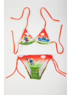 Купальник детский для девочек La Pastel. Цвет: оранжевый, зеленый