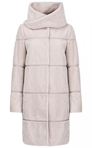 Пальто из вязаной овчины со съемным шарфом Virtuale Fur Collection