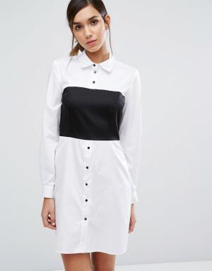 Closet London Платье-рубашка со вставкой и длинными рукавами. Цвет: черный