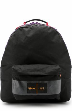 Текстильный рюкзак с карманом Ami. Цвет: черный