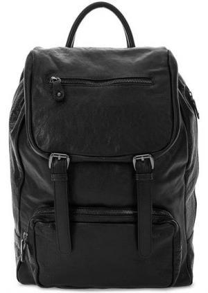 Вместительный рюкзак из натуральной кожи Bruno Rossi. Цвет: черный
