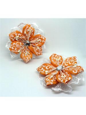 Резинки для волос Лидия ТД Трастеро. Цвет: оранжевый, белый
