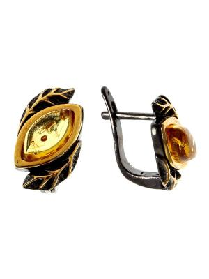 Серьги Балтийское золото. Цвет: черный, золотистый