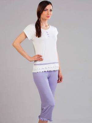 Пижама NicClub. Цвет: лиловый, молочный