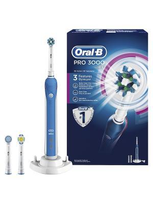 Электрическая аккумуляторная зубная щетка Professional Care 3000 ORAL_B. Цвет: светло-голубой