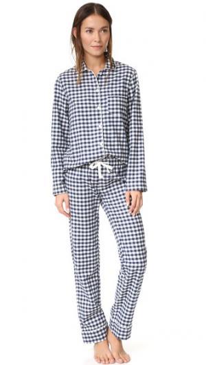 Пижама Jamie Three J NYC. Цвет: темно-синяя клетка гингем/белый
