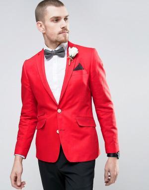 Gianni Feraud Приталенный льняной пиджак с кремовым цветком на лацкане. Цвет: красный