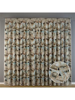 Тюль, органза Достопримечательности, 300*275 см Ambesonne. Цвет: белый, бежевый, коричневый