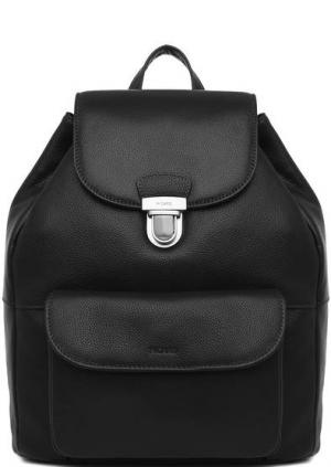 Черный кожаный рюкзак с клапаном Picard. Цвет: черный
