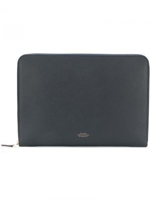 Сумка для ноутбука с принтом логотипа Smythson. Цвет: синий